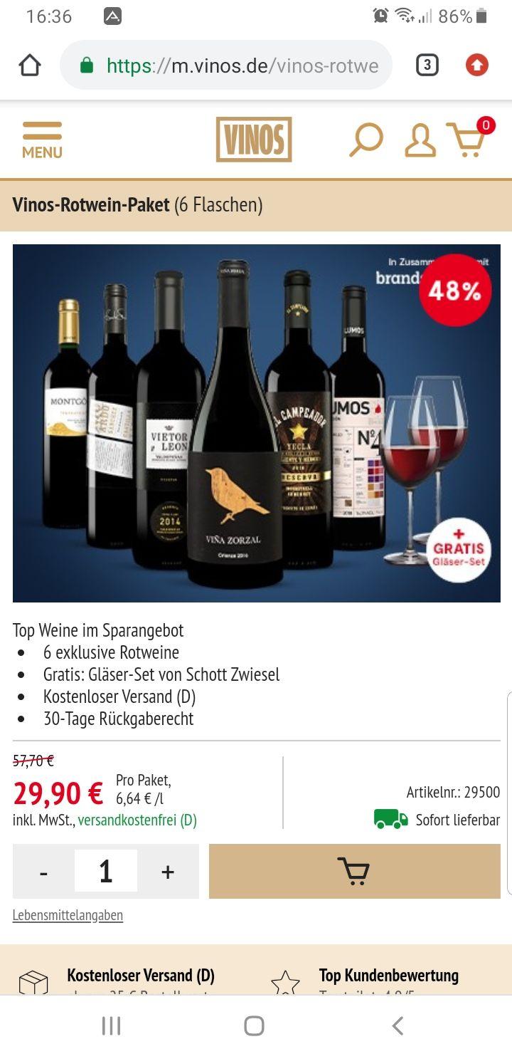 Vinos Rotwein Paket für nur 29,90 € – jetzt 48% sparen - 6 erstklassige Rotweine