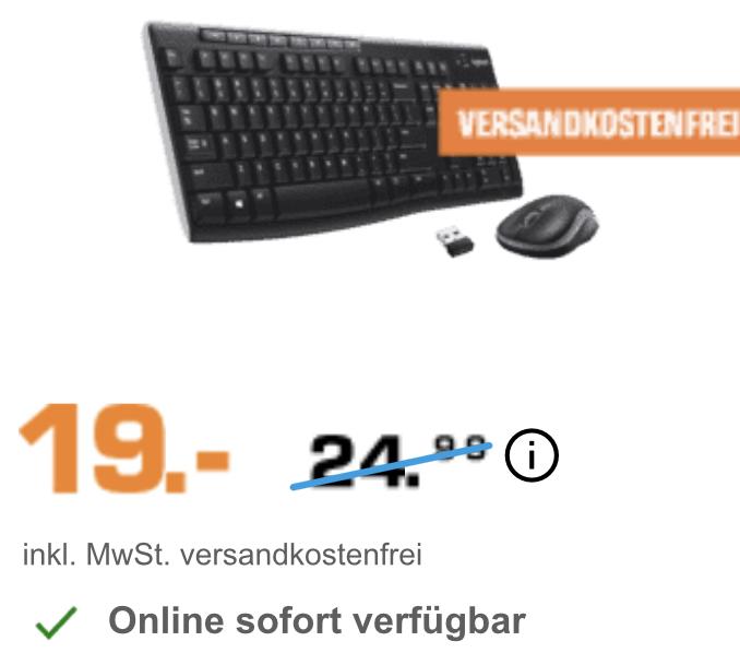 Logitech Tastatur Wireless Combo MK270 mit Funkmaus für 19€ inkl. Versandkosten