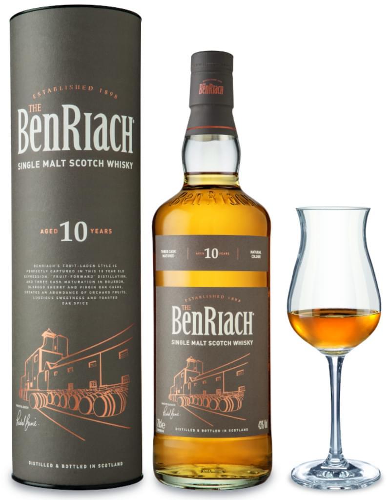 Benriach 10 Jahre ¦ Single Malt Whisky ¦ 0,7l 43% + Nosing-Glas von Ritzenhoff