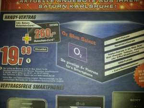 O2 Blue Select 4+ für effektiv 10,40€ @ Saturn Karlsruhe