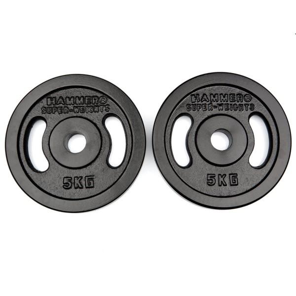Hammer Gewichtsscheiben Guss 30mm innen Durchmesser 2x 5 kg - schwarz