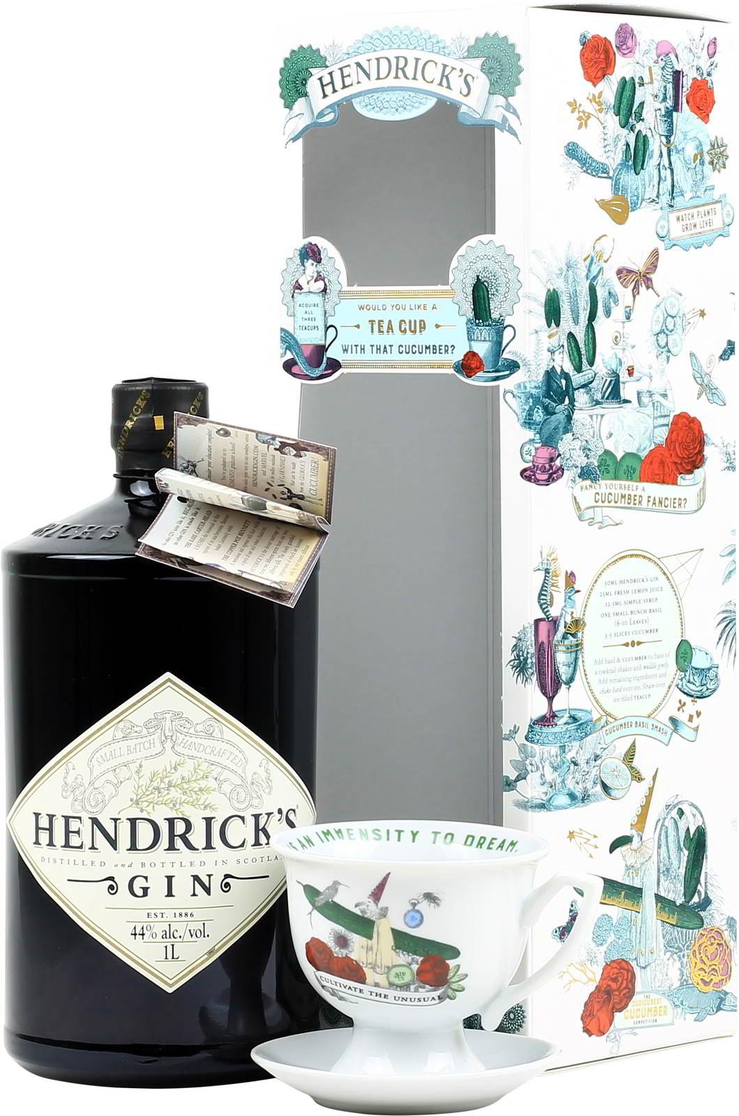 Hendrick's Gin Geschenkset ¦ 1 Liter Flasche + Tasse (entspricht 24,29€ für 0,7l)