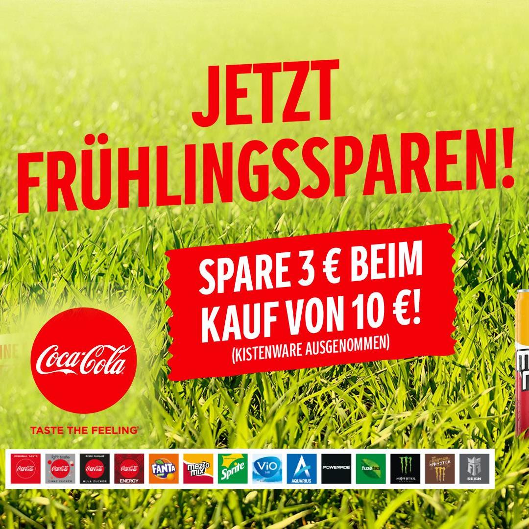 3€ Cashback ab 10€ auf Coca-Cola, Fanta, Sprite, mezzo mix, Powerade, ViO, Aquarius, Fuze Tea, Monster Energy und Reign