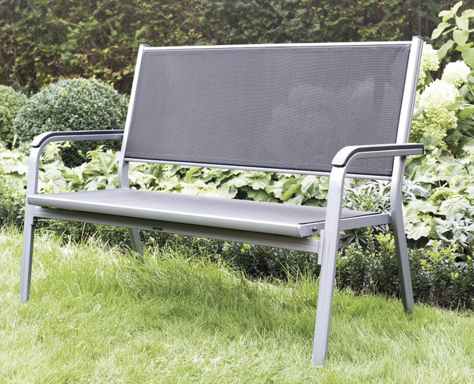KETTLER 2er Gartenbank Basic Plus Aluminium mit Edelstahlschrauben wetterfest silber/anthrazit für 199€ inkl. Versandkosten