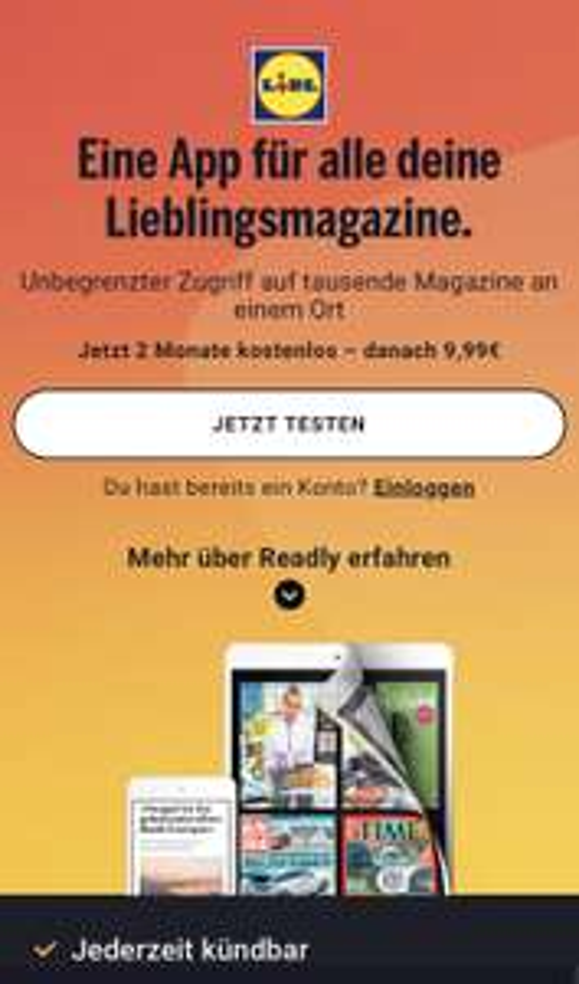 Readly 2 Monate kostenlos Zeitschriften lesen (Familienaccount)
