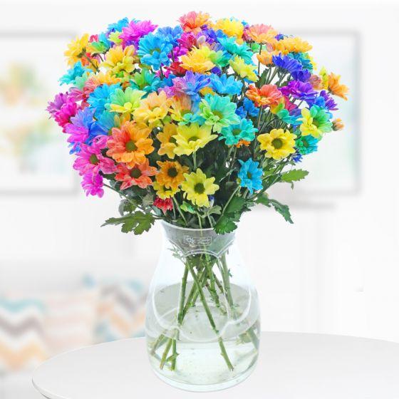 Lass ein bisschen Farbe in dein Leben: Blumenstrauß Colours of Hope - Chrysanthemen mit 65cm Stiellänge