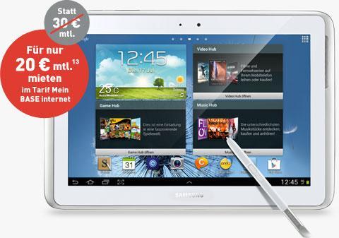 """Samsung Galaxy Note Tab (10.1"""", 16GB, Wifi + 3G) + 500MB DatenFlat von Base+ Versicherung"""