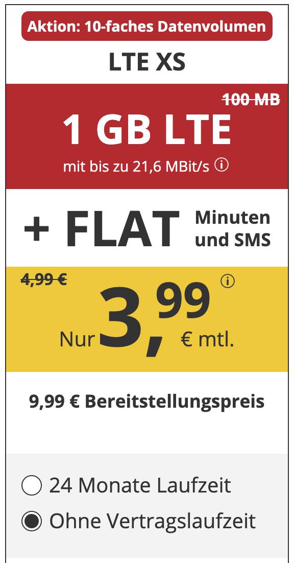 PremiumSim 1GB LTE Allnet-Flat mit SMS-Flat im o2-Netz für 3,99€ im Monat