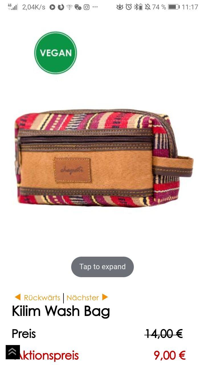 """Geschenk bei Erstbestellung - """"Kilim Wash Bag"""" bei 50€ mindest Einkaufswert."""