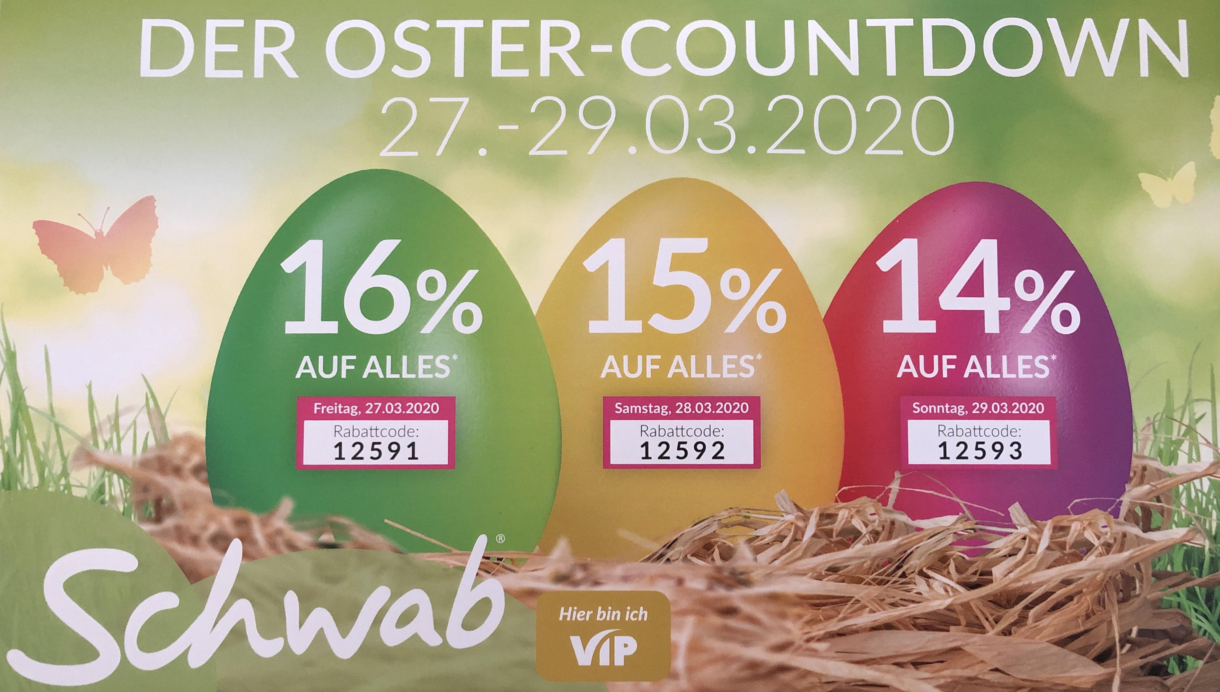 Oster-Countdown bei Schwab.de - 14-16% - 27.-29.03.20