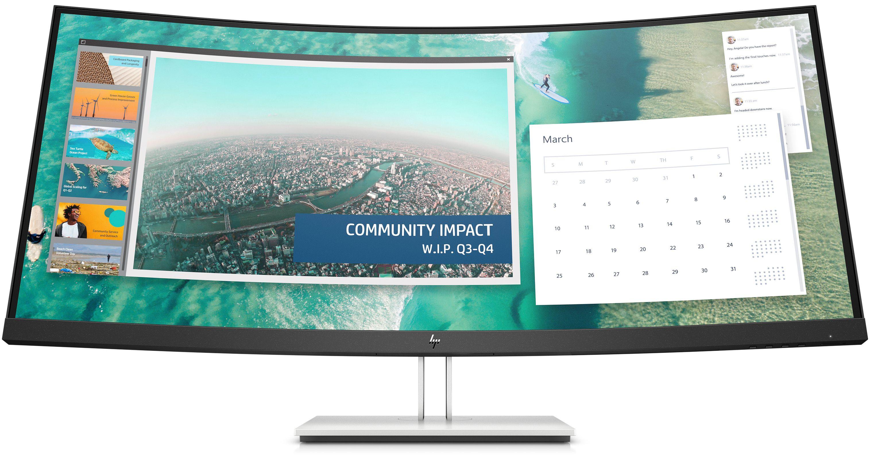 """[Vorbestellung] HP E344c Monitor (34"""", VA, Curved, 3440x1440, 400cd/m², 8bit, 60Hz, 99.5% sRGB, HDMI, DP, USB-C mit DP & 22.5W PD)"""
