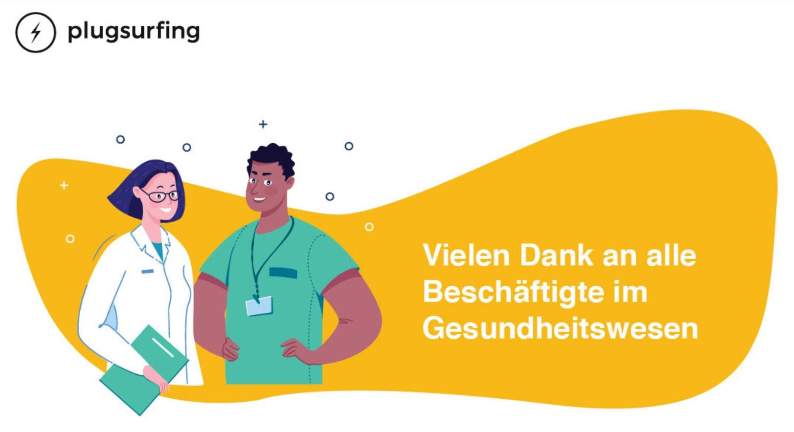 Kostenloses Aufladen von Elektroautos für Beschäftigte im Gesundheitswesen (Gutscheincode für 25€ für das Laden im öffentlichen Bereich)
