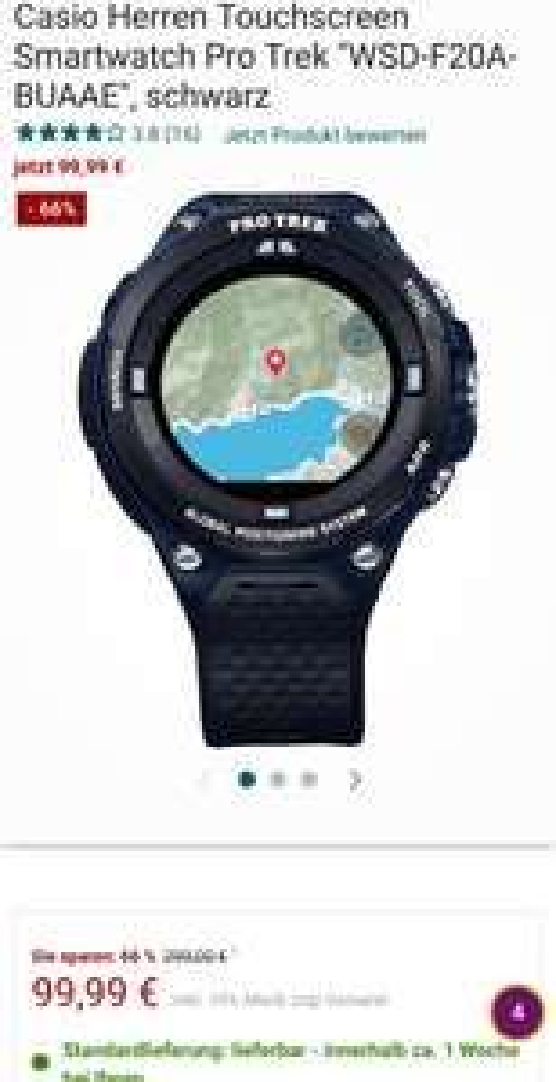 """[Galaria] Casio Herren Touchscreen Smartwatch Pro Trek """"WSD-F20A-BUAAE"""", schwarz"""