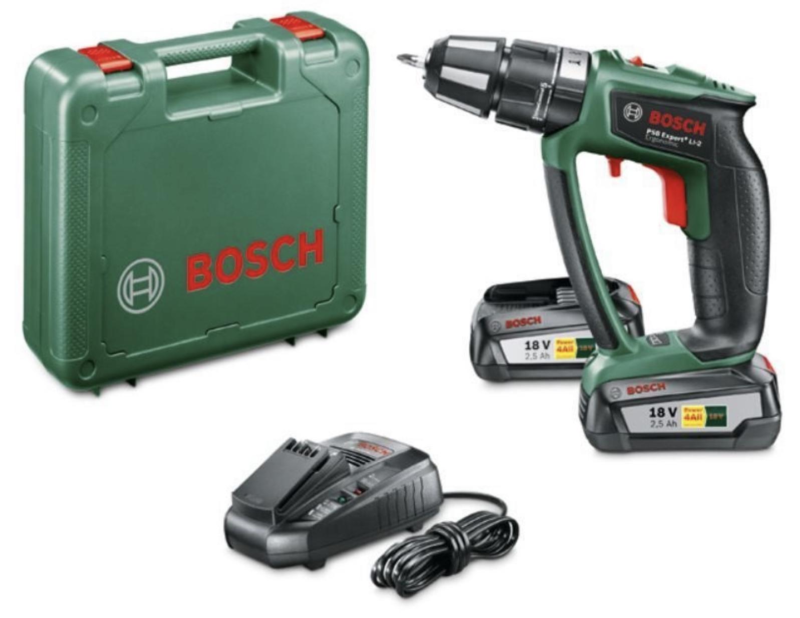 Bosch PSB Expert+ LI-2 Ergonomic AKKU-SCHLAGBOHRSCHRAUBER mit 2 x 18V 2,5A für
