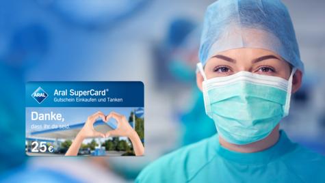 Aral verschenkt SuperCard zum Tanken im Wert von 25 € für alle Krankenpflegekräfte