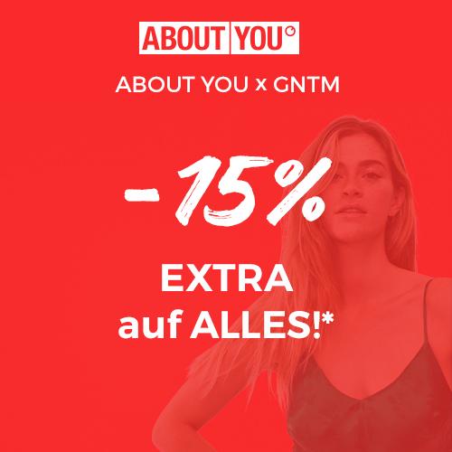 GNTM Sale mit 15% Rabatt ab 75€ MBW, zB.: [about you] - kostenloser Versand + Rückversand
