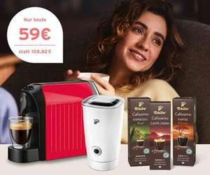 Kombi Angebot aus Tchibo Cafissimo easy Kapselmaschine + elektrischen Milchaufschäumer + 30 Kapseln für 59€ inkl Versand