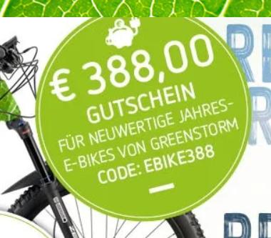 388 Euro auf gebrauchte E-Bikes bei greenstorm.eu
