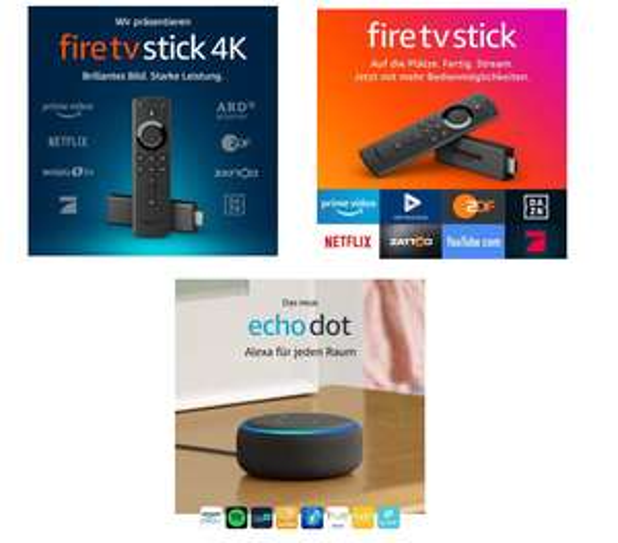 [ amazon] Fire TV Stick 4K mit Sprachfernbedienung für 29,99€ | FireTV Stick für 19,99€ | Echo Dot 3rd gen anthrazit für 29,99€