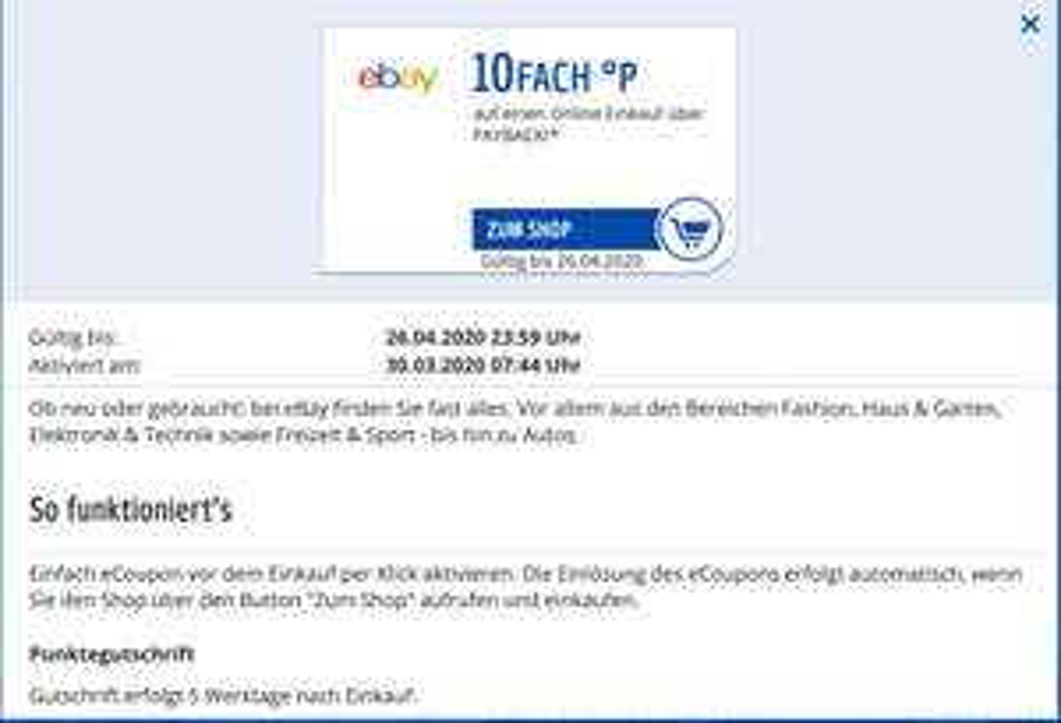 (Payback personalisiert) 10 fach Punkte bei Ebay