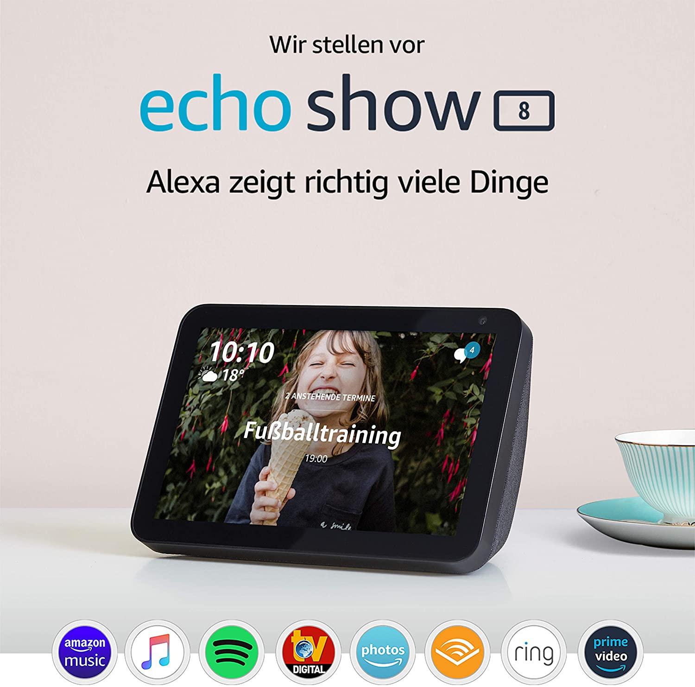 [Amazon, MM, Saturn] Echo Show 8 | Smart Display mit 8 Zoll großem HD-Bildschirm und Alexa