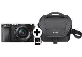 Sony Alpha 6000 E-Mount Systemkamera mit Objektiv AF E 16-50mm 3.5-5.6 OSS PZ (ILCE-6000LB) + Tasche + 16GB SDHC-Karte