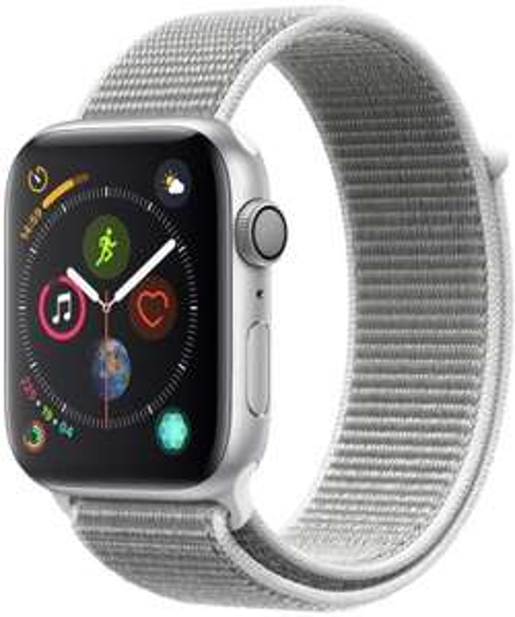 Apple Watch Series 4 silber (GPS, 44 mm) - Aluminiumgehäuse mit Seashell Sport Loop