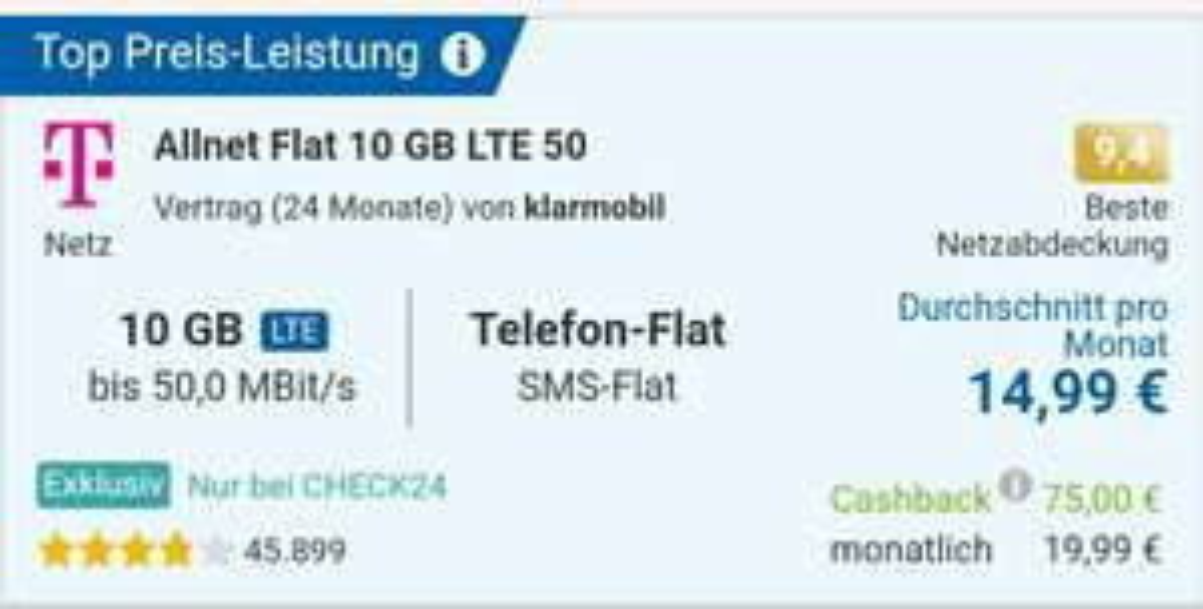 [D-Netz] Allnet Flat + SMS Flat + 10GB LTE50 - 24 Monate - Klarmobil // 17,07€/Monat // Bei Rufnummernmitnahme 14,99€/Monat