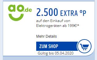 2.500°P Payback Punkte extra ab 199€ Einkaufswert bei AO.de + 5% Shoop