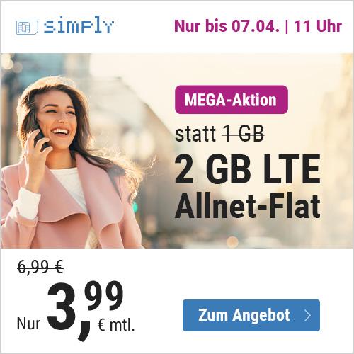 simply Tarif mit 2GB LTE (50 Mbit/s) für mtl. 3,99€ inkl. Allnet- & SMS-Flat im Telefonica-Netz (3 Monate / 24 Monate)