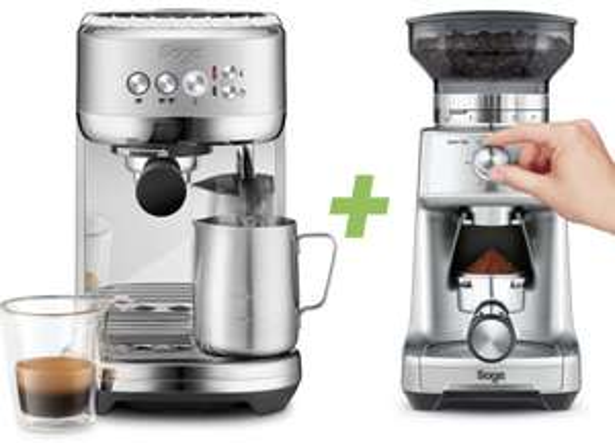 Sage Appliances SES500BSS Bambino Plus Siebträgermaschine + Sage The Dose Control SCG600 Kaffeemühle für zusammen 299€ inkl. Versandkosten