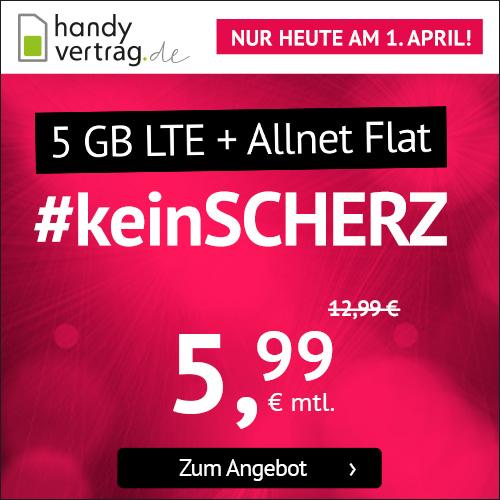 NUR HEUTE: 5GB LTE (50 Mbit/s) Tarif für mtl. 5,99€ von handyvertrag.de mit Allnet- & SMS-Flat (mtl. kündbar / 24 Monate; Telefonica-Netz)