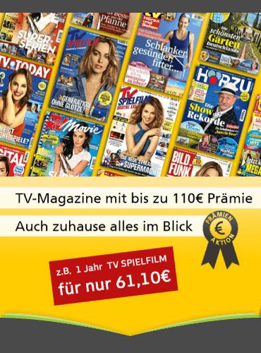 TV-Zeitschriften Abo mit erhöhten Prämien/ TV Digital (57€ + 55 € BC) TV Movie, TV Spielfilm, TV Today, Hörzu, Bild+Funk, TV Hören Sehen