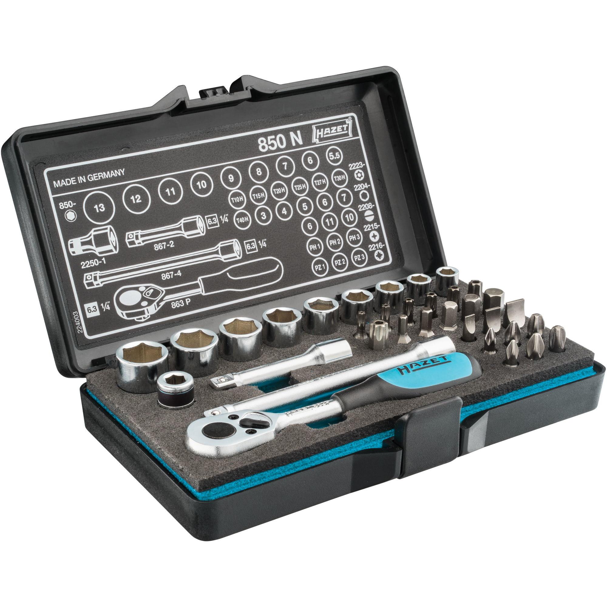 HAZET Profi-Steckschlüssel- und Bitsatz 850N (Vierkant-/Sechskantantrieb, 1/4 Zoll 34-teilig, Umschaltknarre HAZET 863P