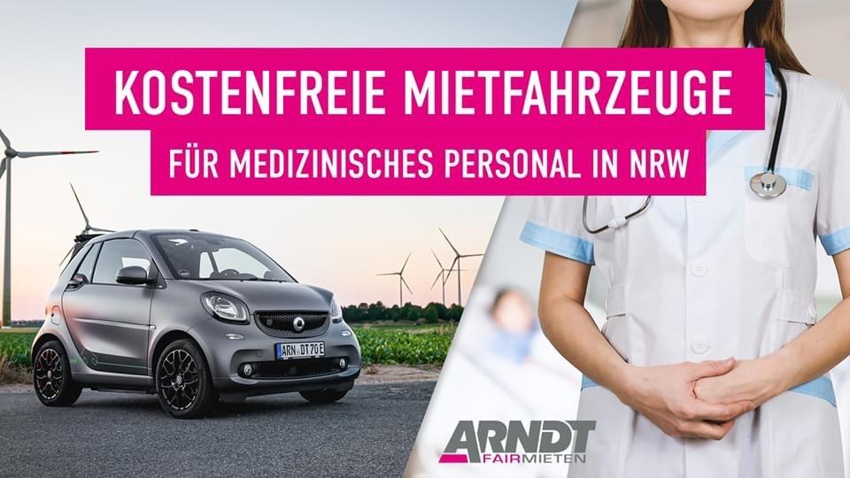 Kostenlose Mietfahrzeuge bei Arndt für medizinisches Personal (NRW)