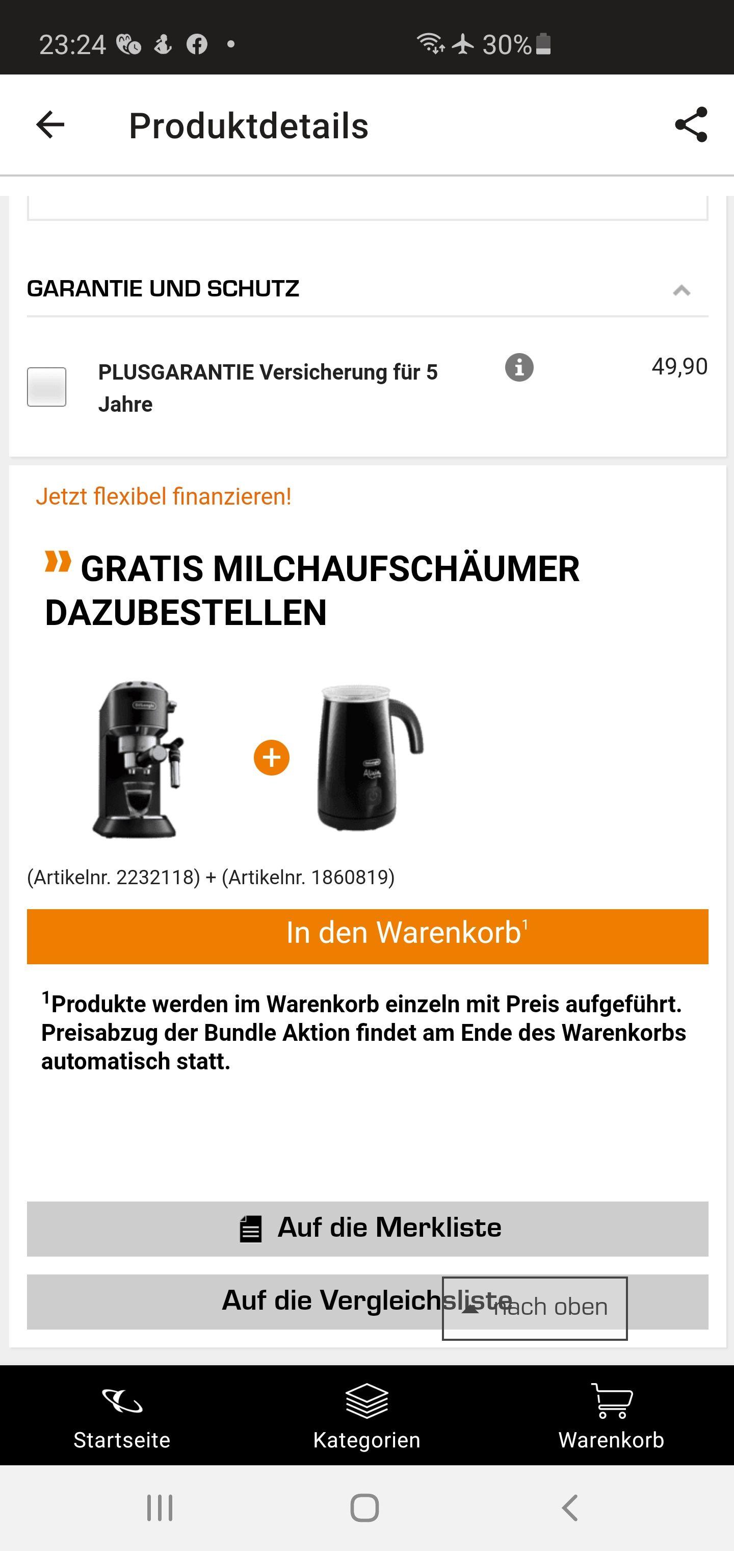 De'longhi Dedica 685 Schwarz + Milchschäumer Delonghi EMF2.B Schwarz