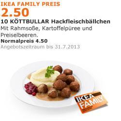 [offline] @ IKEA bundesweit mit Family Card: 10 Köttbullar mit Beilagen für € 2,50