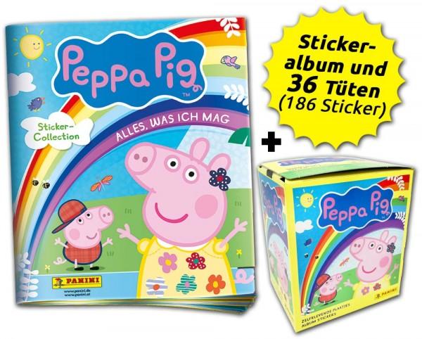 Peppa Pig: Alles, was ich mag Stickerkollektion - Box-Bundle 36 Tüten + Album