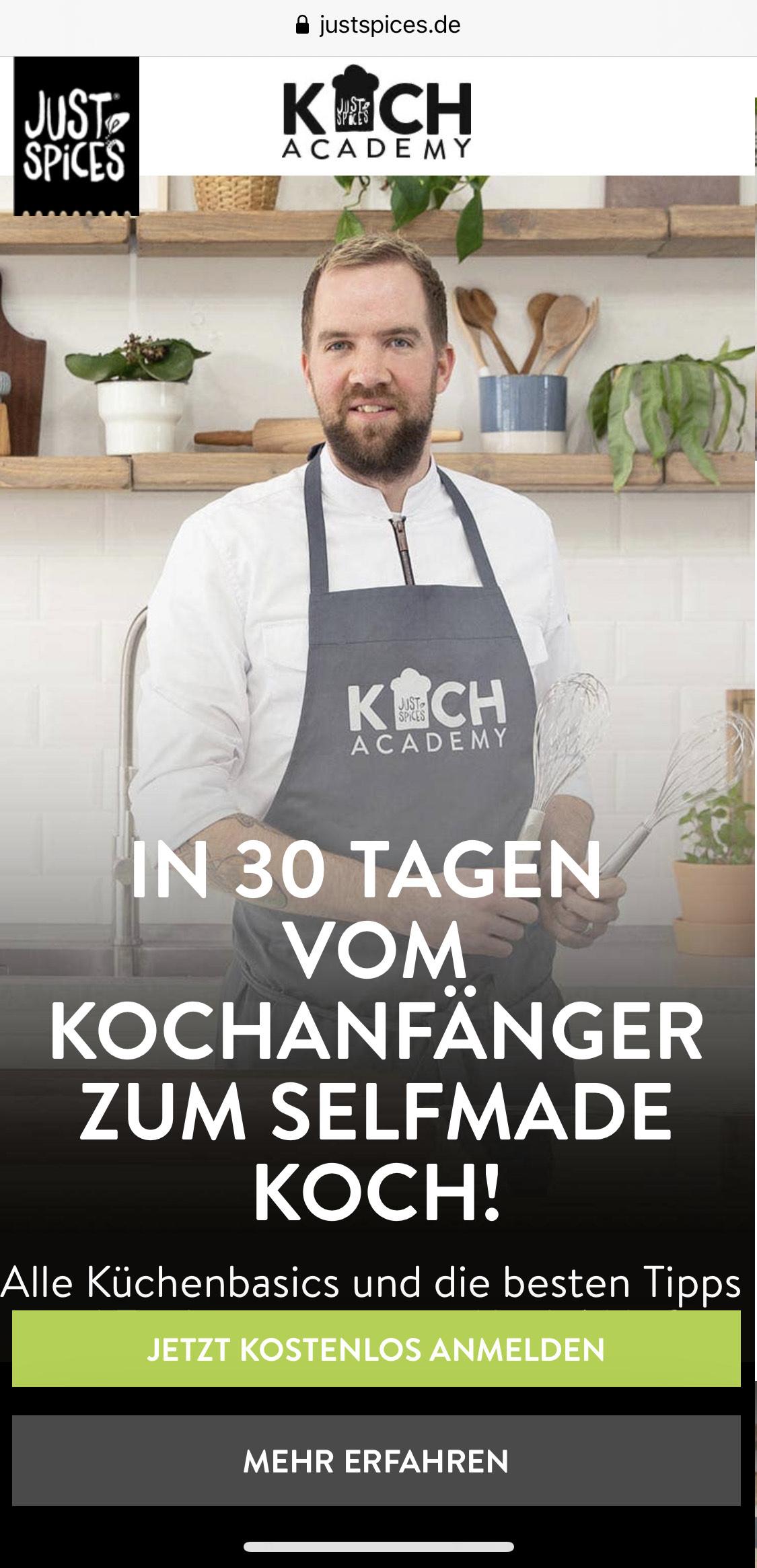 Kochkurs Kostenlos 30 TAGEN - vom Anfänger zum SELFMADE KOCH! Alle Küchenbasics und die besten Tipps und Tricks.