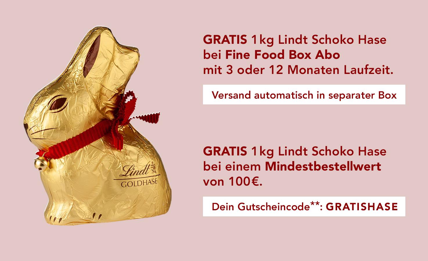Foodist - 1 kg Lindt Goldhase kostenlos erhalten: 3 Monate die Fine Food Box für 74,70 € abonnieren oder für 100,00 € aus dem Shop bestellen