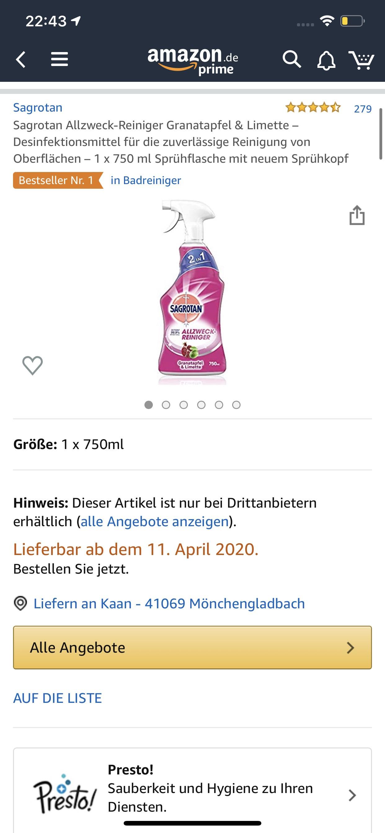 Sagrotan Allzweck-Reiniger Granatapfel & Limette – Desinfektionsmittel für die zuverlässige Reinigung von Oberflächen