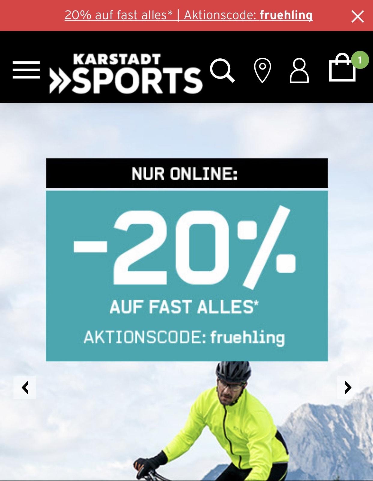 20% Rabatt bei Karstadt Sport *nur online *