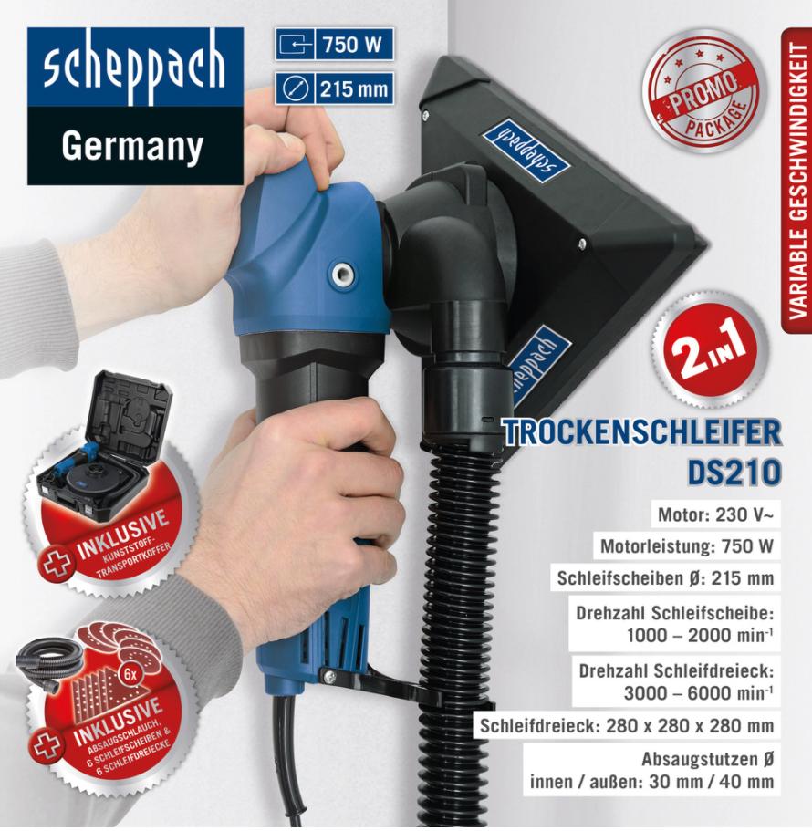 Scheppach Trockenschleifer DS210, 750 W, inklusive Kunstoff-Transportkoffer, Absaugschlauch, 6 Schleifscheiben, 6 Schleifdreiecke