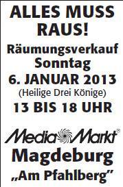 [LOKAL] Räumungsverkauf am 06.01. im Media Markt Magdeburg (Am Pfahlberg)