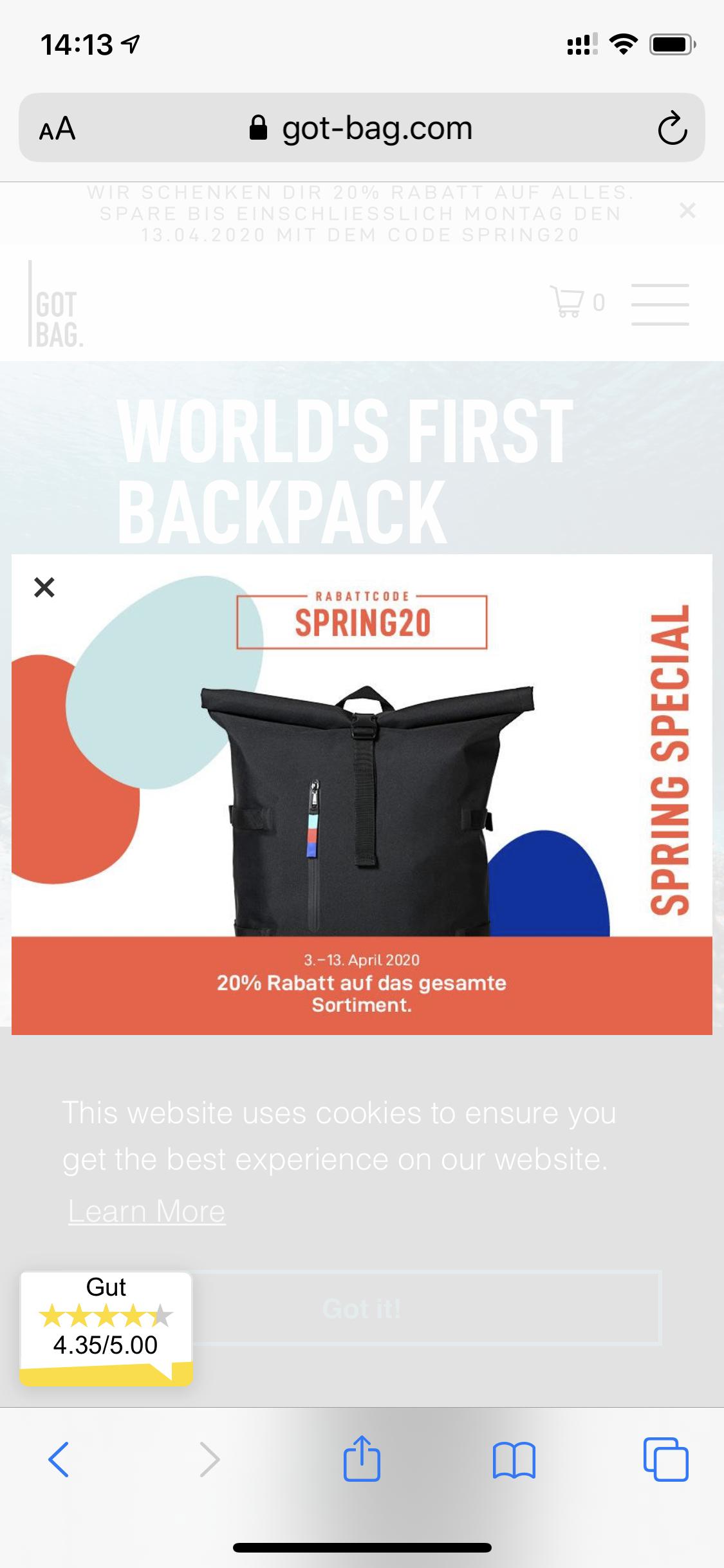 20% Rabatt auf alles von GotBag (Rucksack aus Meeresplastik)