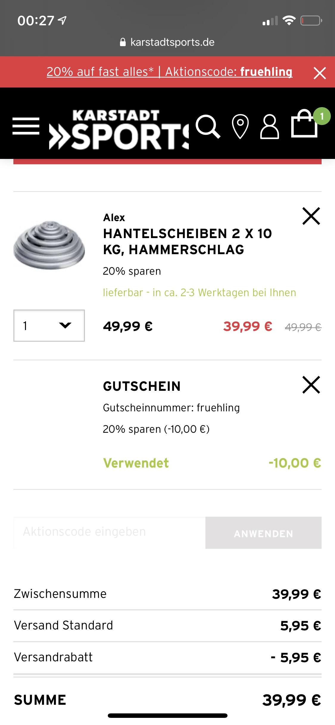 [Karstadt Sports] Hantelscheiben Gewichte - z.B. 2x 10KG Set für 39,99 EUR + 5% Shoop möglich