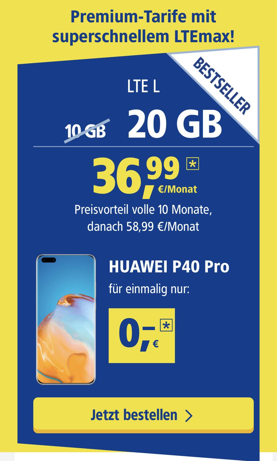 Huawei P40 Pro + Free Buds 3 + GT2 Watch im 1&1 Allnet L Tarif (eff. 51,07€ mtl.)