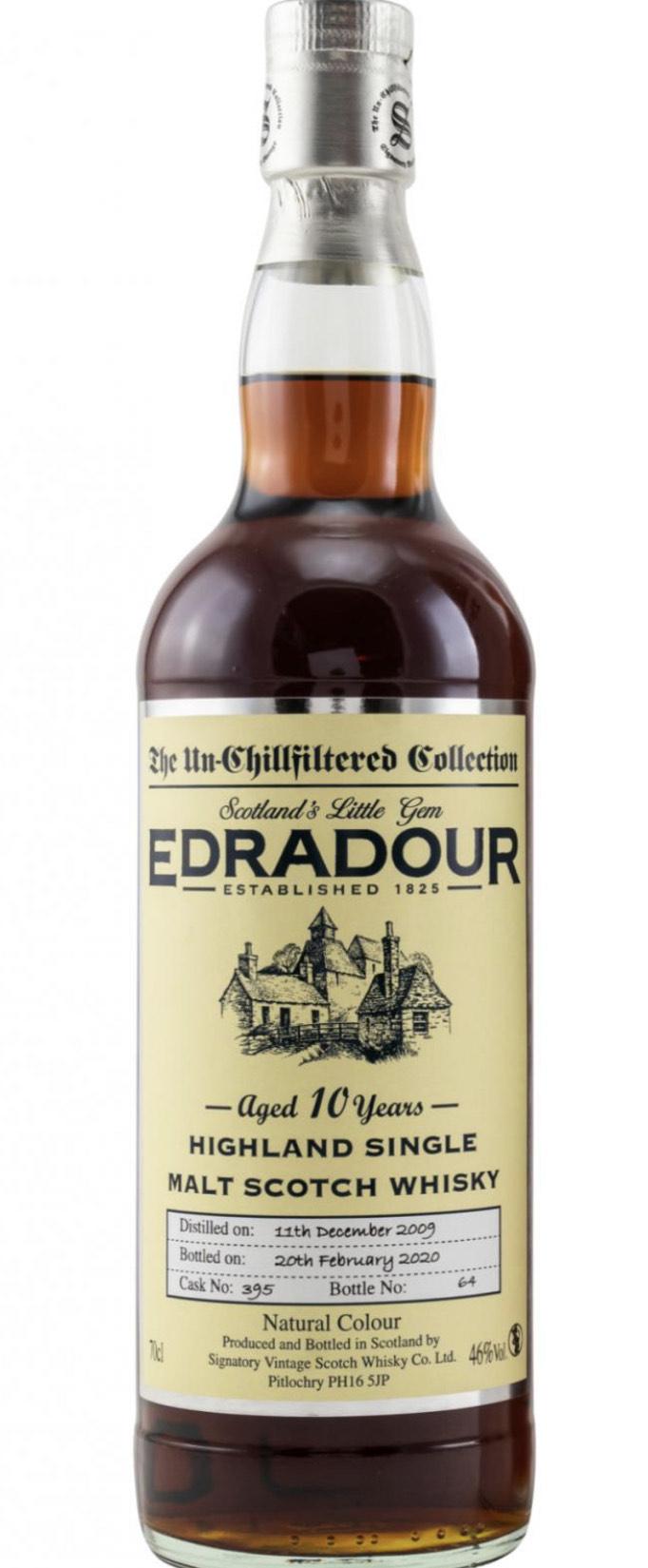Edradour 10 Jahre 2009/2020 Signatory Un-Chillfiltered 46.0% 0,7l. Single Malt Whisky