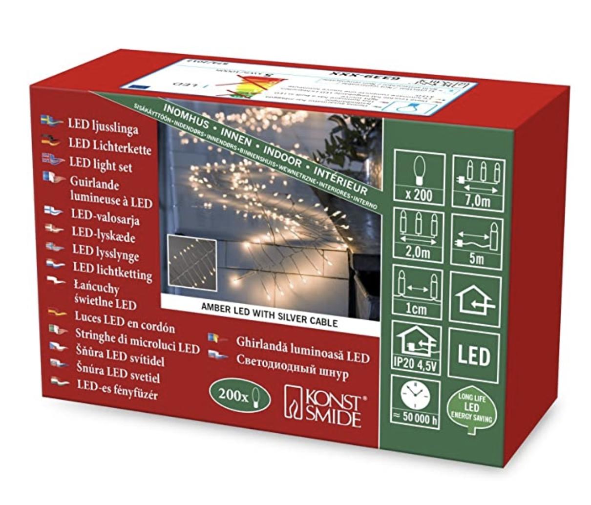 """( Amazon Prime ) Konstsmide, 6339-890, Micro LED Lichterkette, """"Firecracker"""", 200 bernsteinfarbene Dioden, 4.5V_Innentrafo, silberfarben"""
