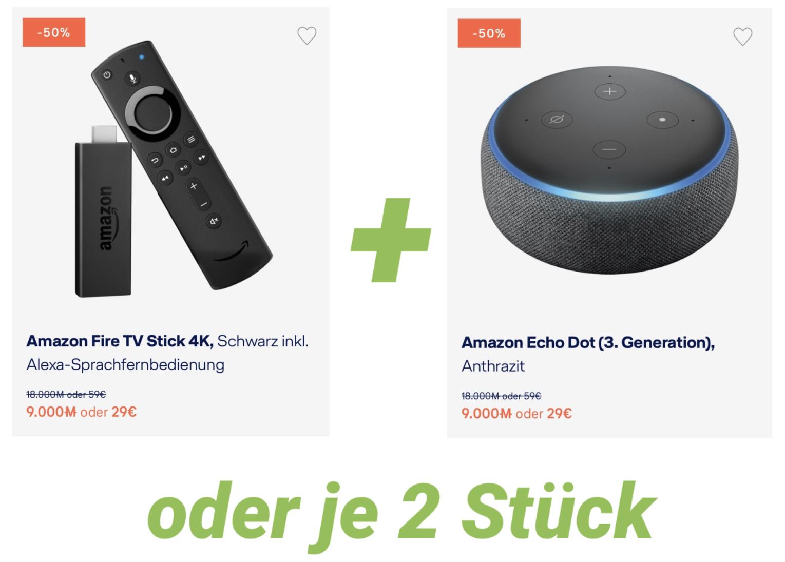 Amazon Fire TV 4K + Echo Dot 3 oder 2x Fire TV 4K bzw. 2x Echo Dot 3 für 53,95€ inkl. Versandkosten (evtl. nur mit Kreditkarte)